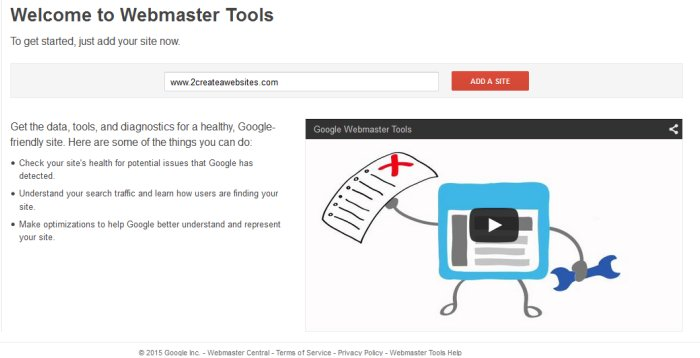 how to set up Google webmaster tools