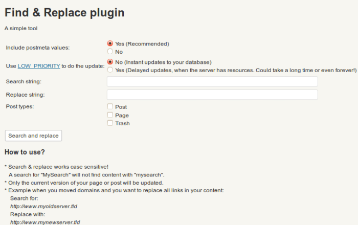 find and replace any word on a WordPress website